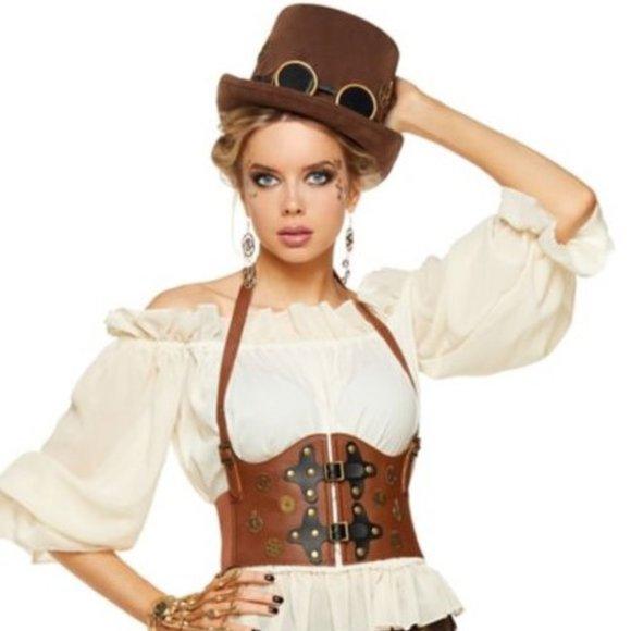 Steampunk waist cincher faux leather corset